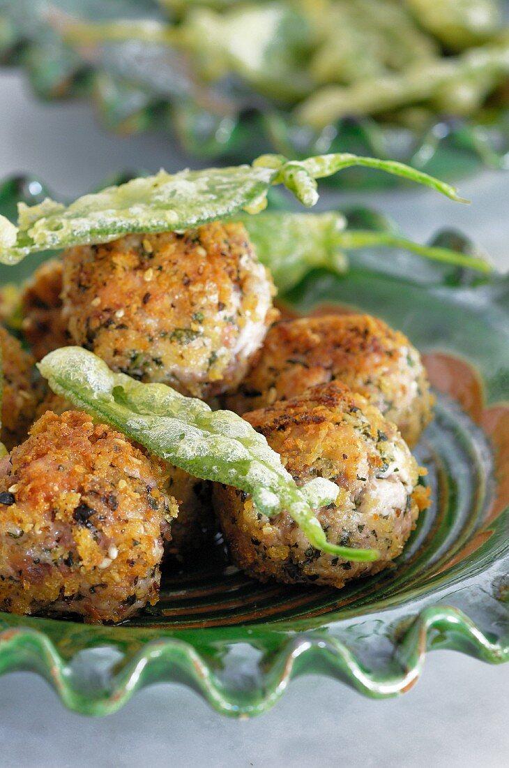 Balls of sage and onion stuffing