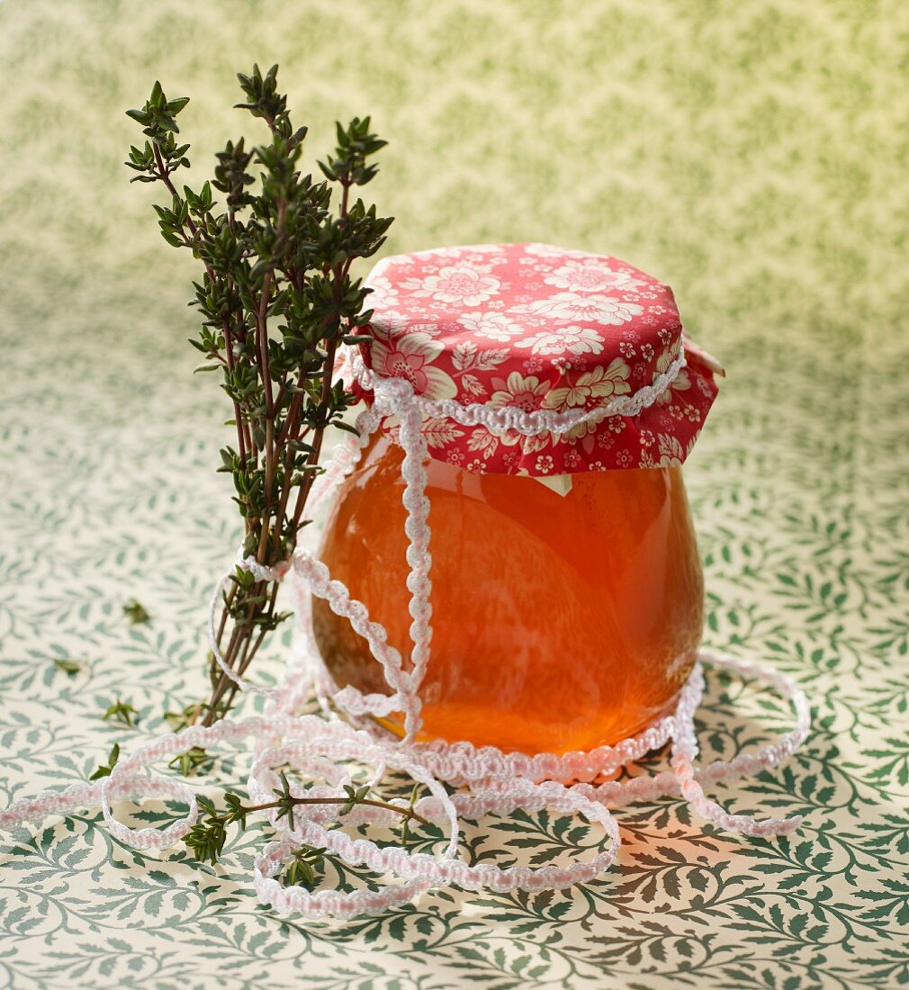 Thyme honey packaged to be given away as a gift