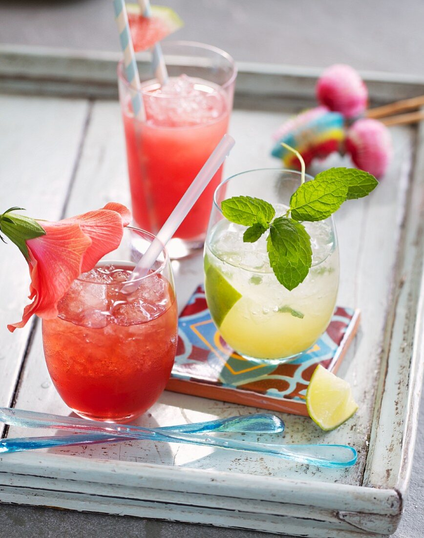 Hibiscus, melon and mint cocktails
