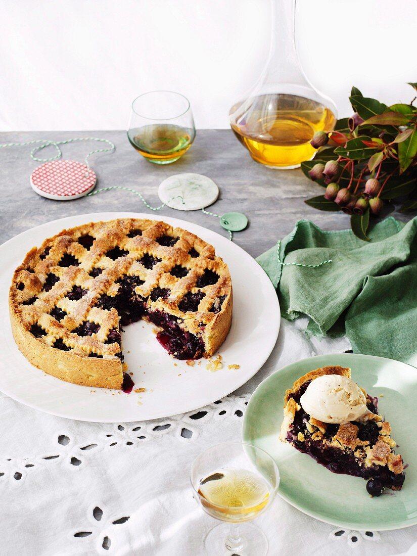 A blueberry cake with hazelnut ice cream