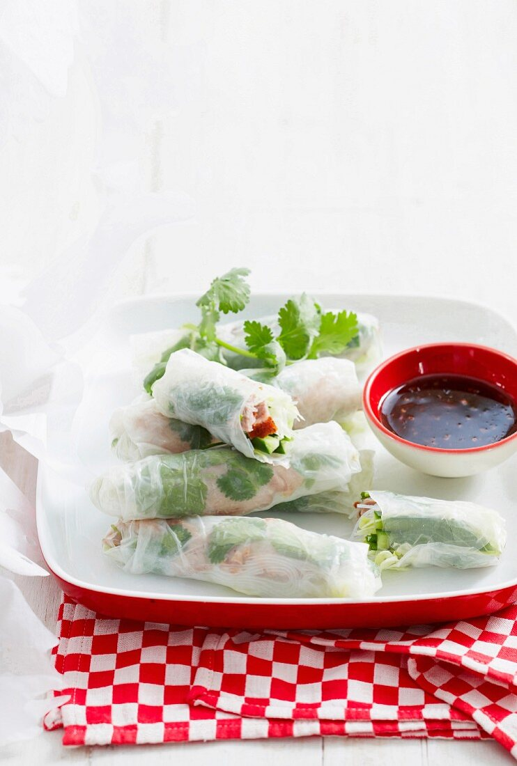 Rice paper rolls filled with duck