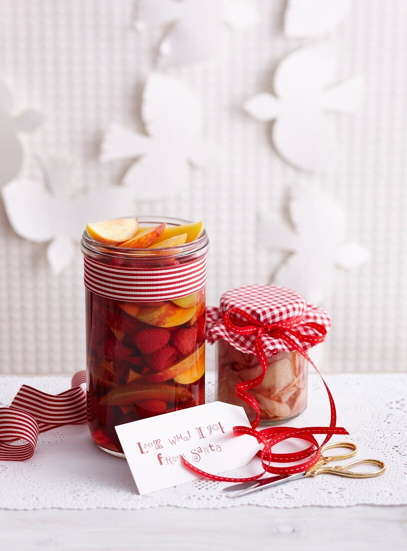 Rum fruits and preserved ginger in jars