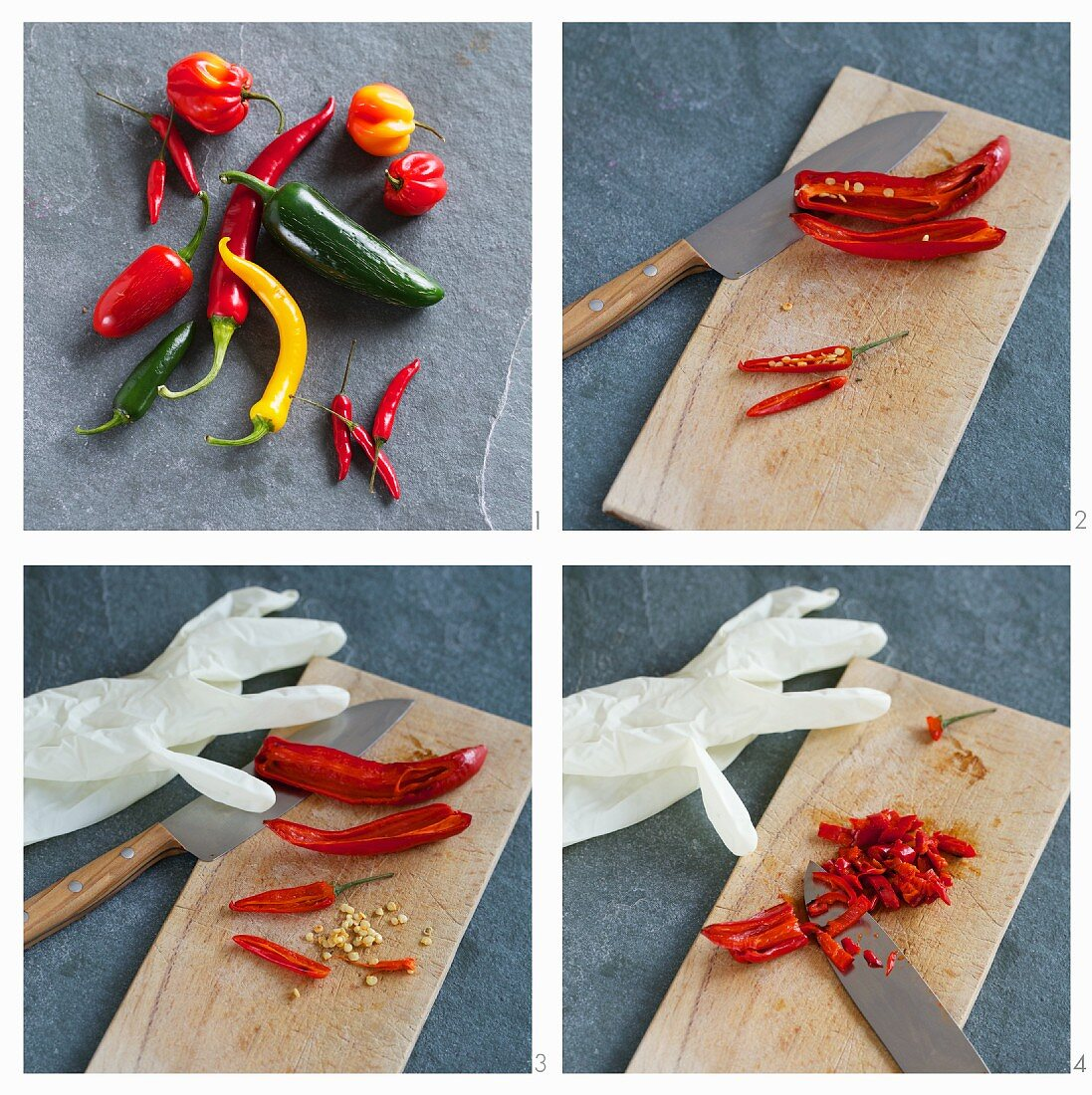 Finely sliced chillies, including jalapeño and habañero chillies