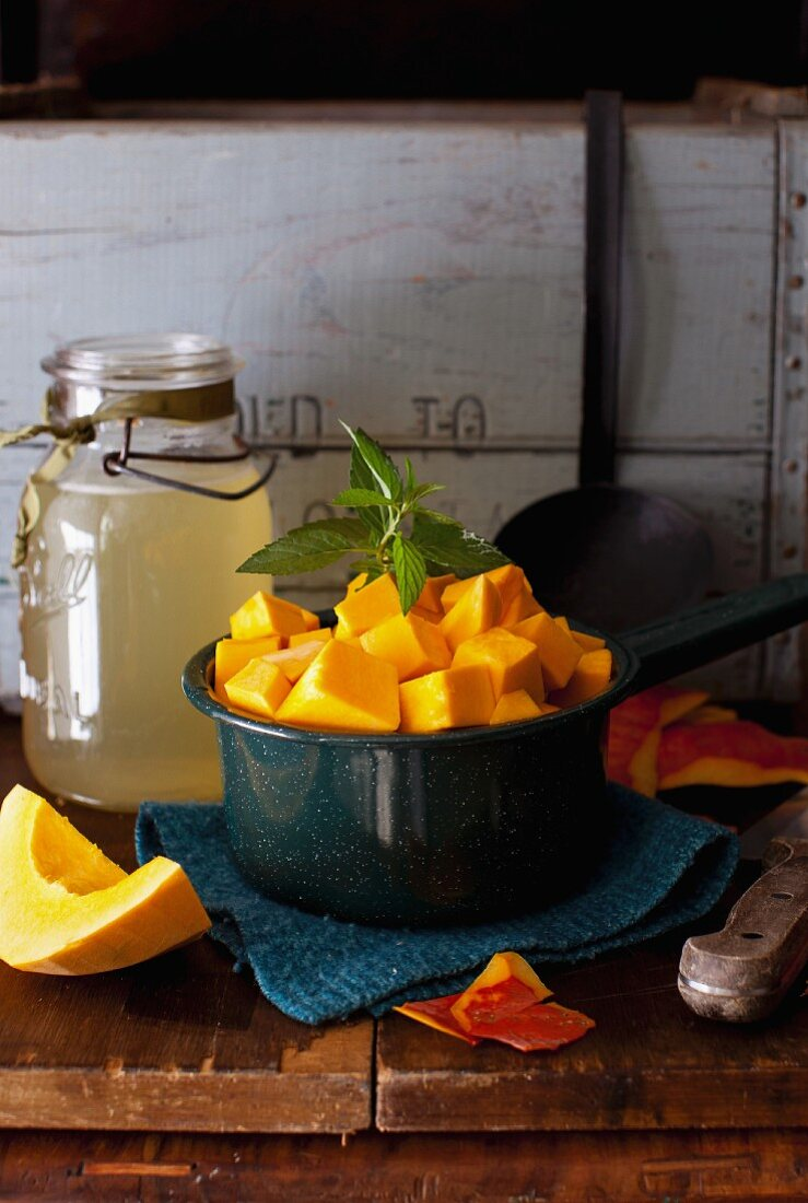 Cubed Red Hubbard Squash in a Bowl