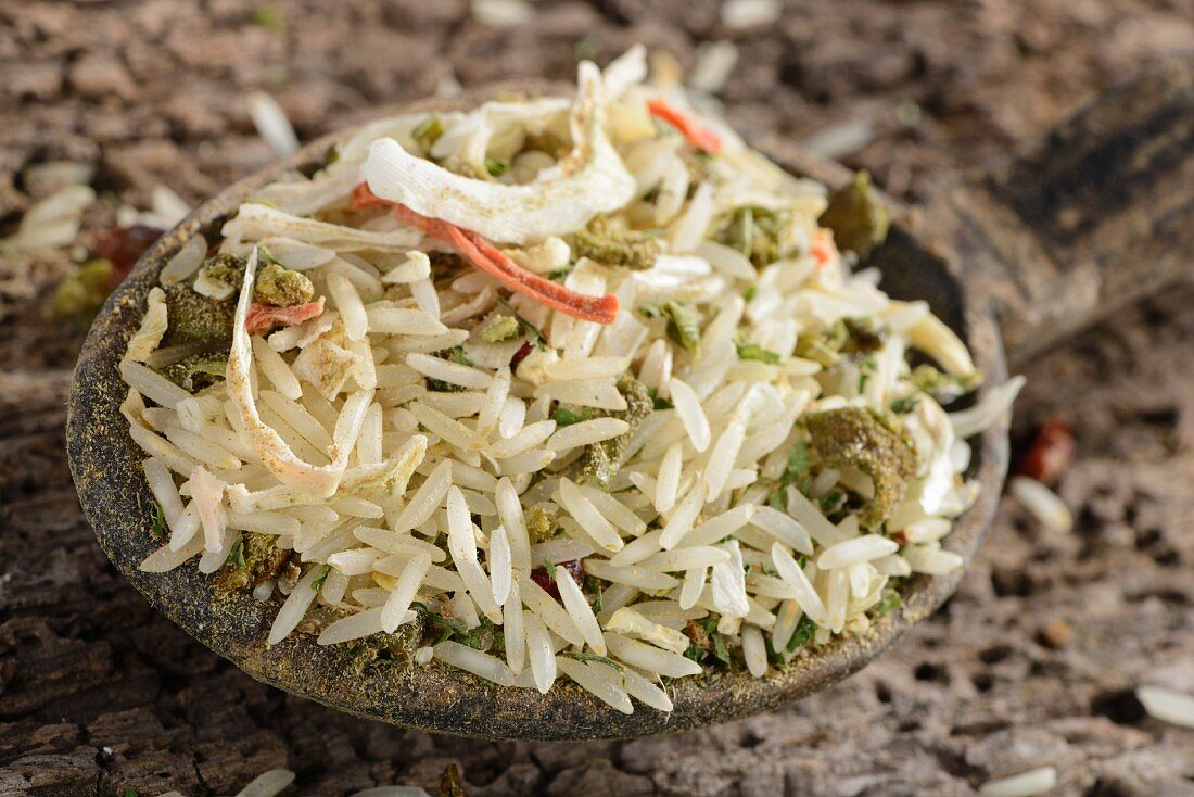 Basmati rice with peppers, onion, lemon grass, parsley, kaffir lime leaves, carrots, leek, celery and assorted spices