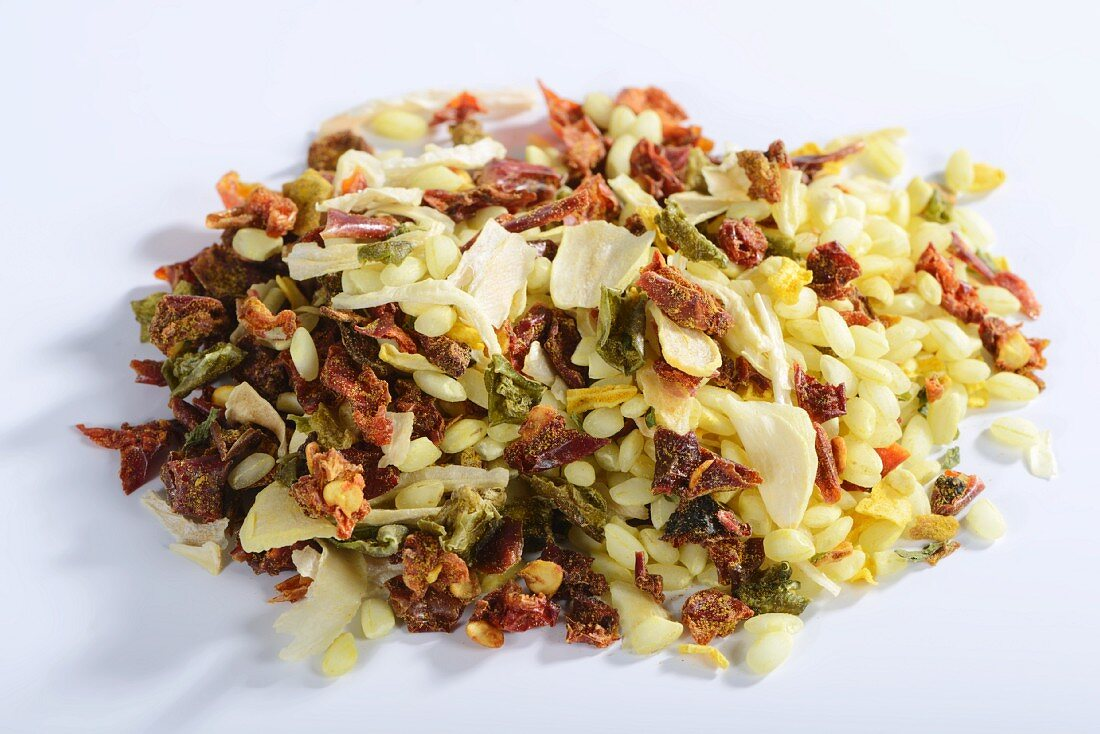 Vialone Nano risotto rice with dried vegetables and seasoning