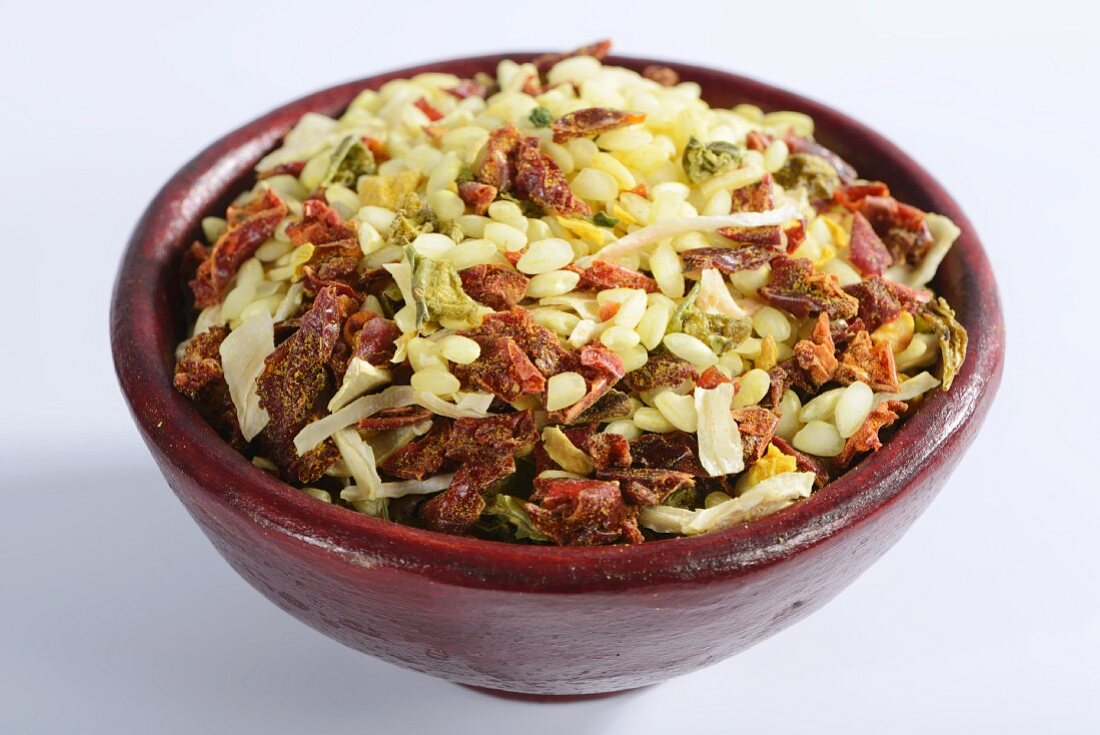 Vialone Nano risotto rice with dried vegetables and seasoning (filling the image)