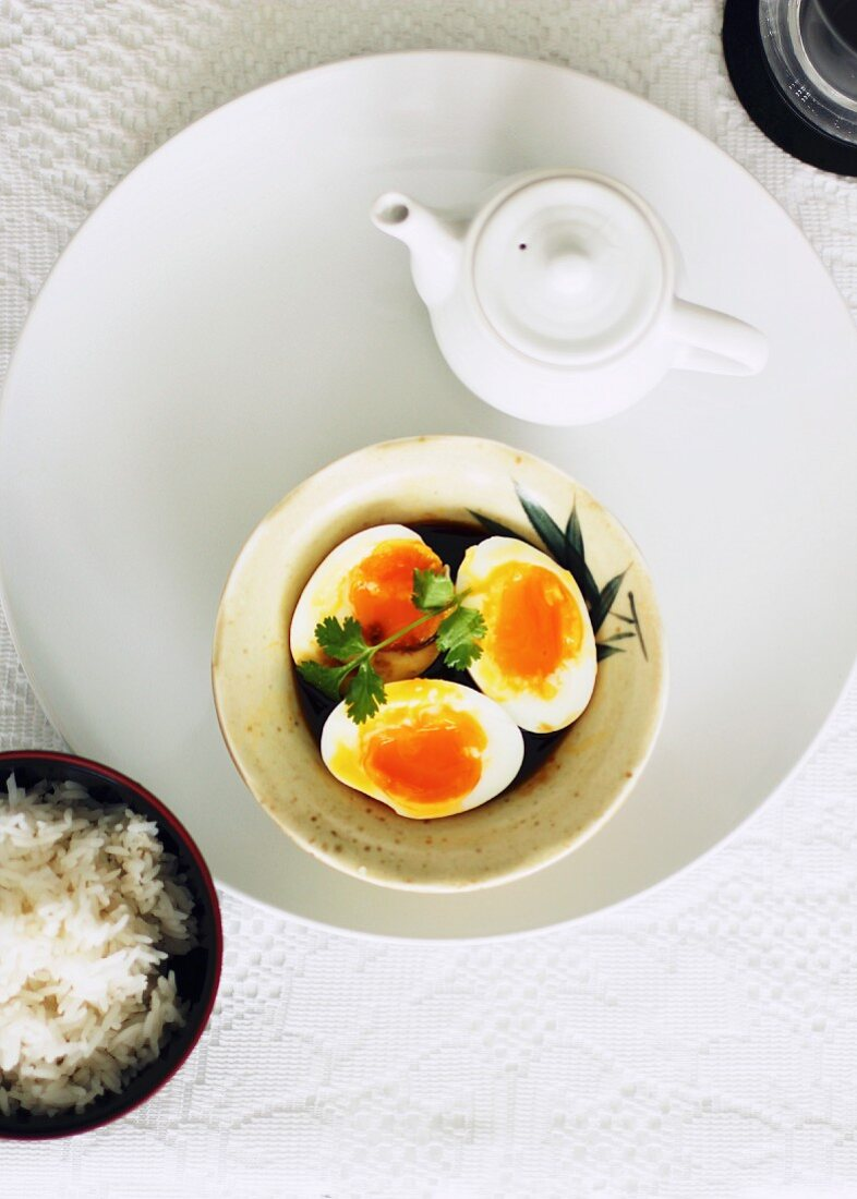 Onsen eggs in soy sauce (eggs cooked at a low temperature)