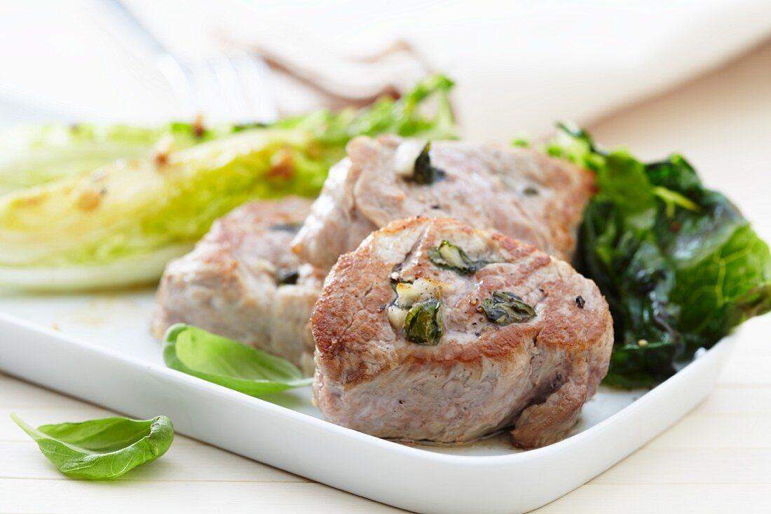 Pork fillet with basil