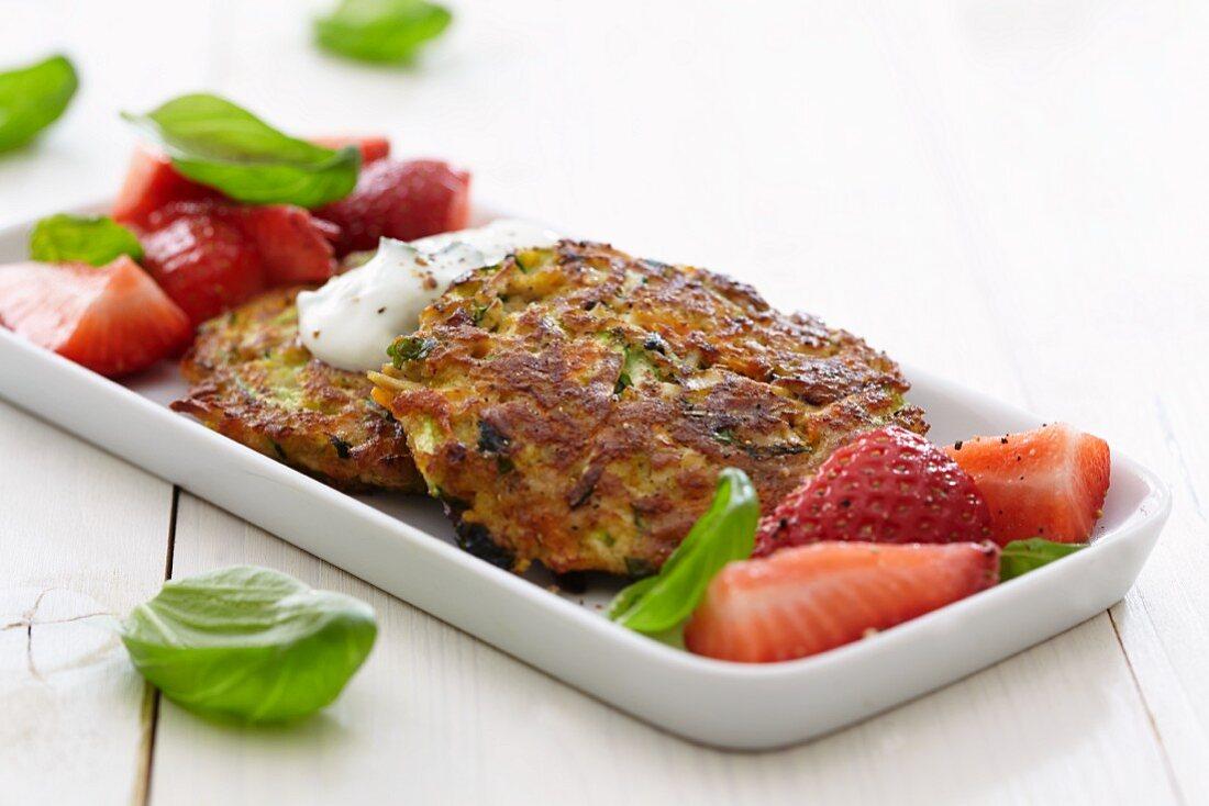 Tofu burgers with strawberries and basil
