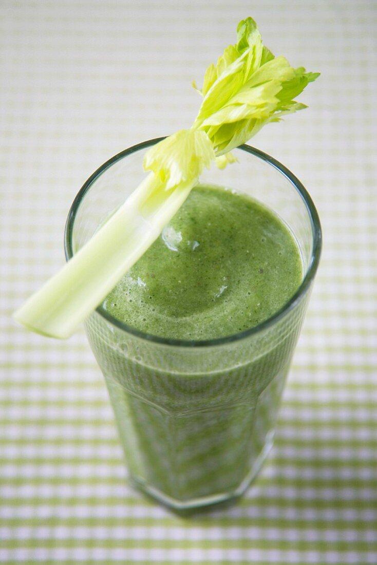 Vegetable smoothie garnished with celery