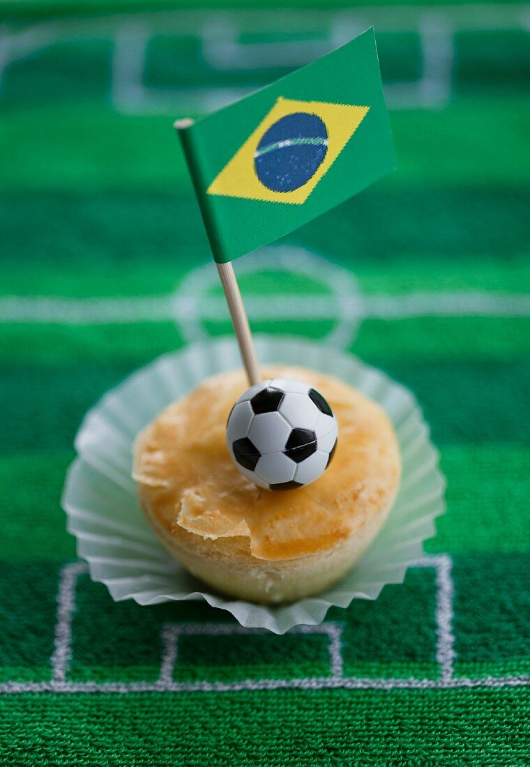 Empadinhas (small pies, Brazil) with a Brazilian flag