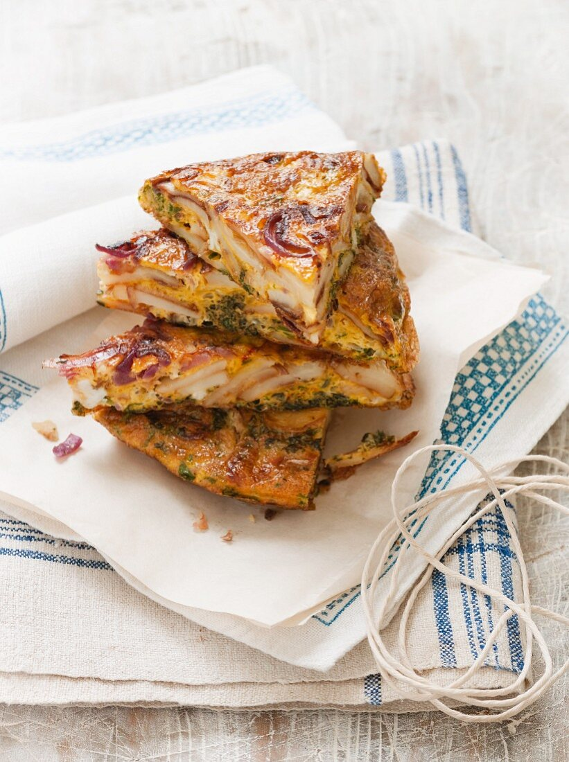 Spanish omelette with saffron and anchovies