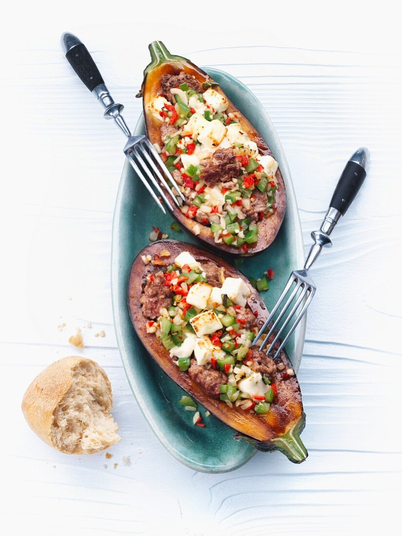 Stuffed aubergines with minced meat and feta