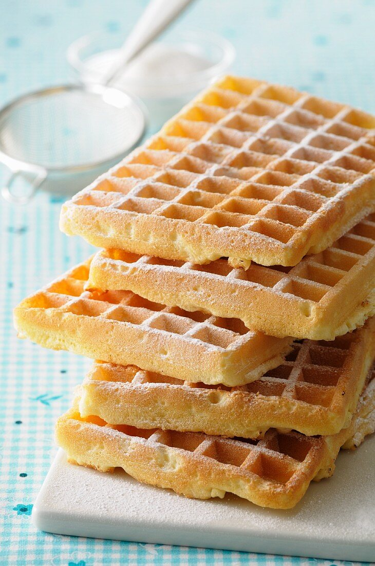 A stack of freshly baked waffles
