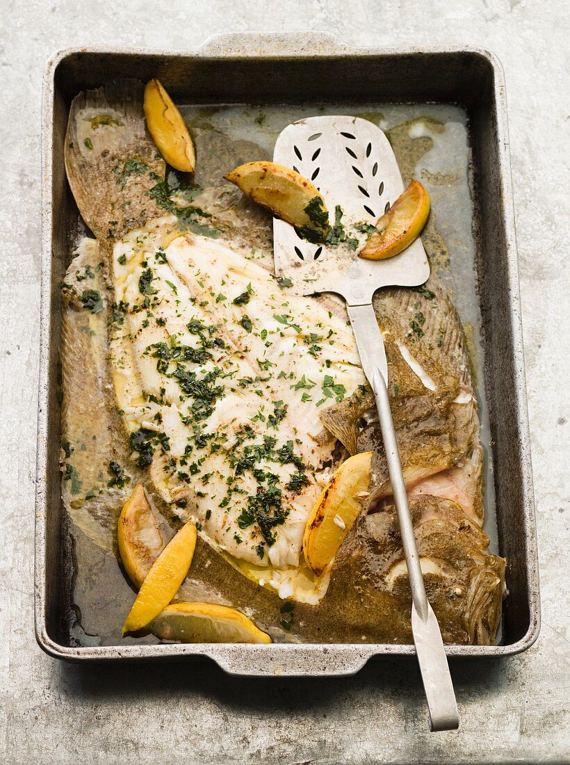 Baked brill with lemon butter
