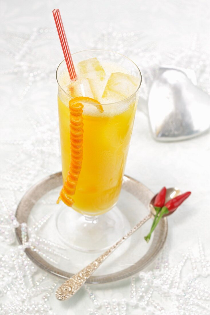 Spicy coconut and orange cocktail