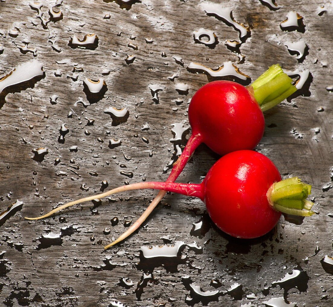 Two radishes on wet wood