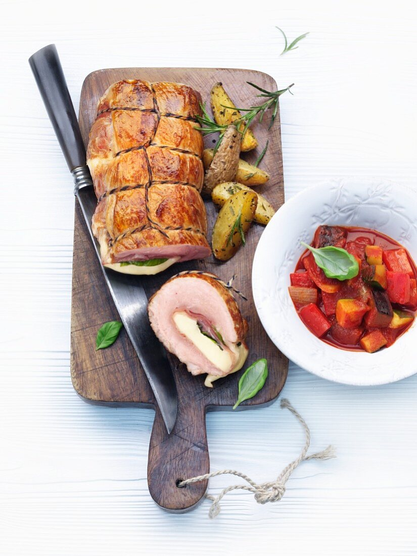 Veal roulade filled with mozzarella and Parma ham; served with ratatouille