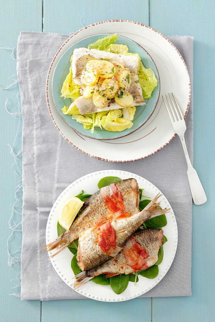 Poached fish with potato salad, and fish wrapped in bacon