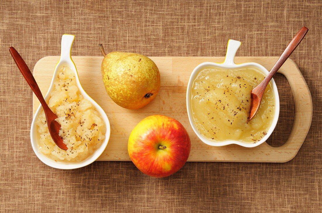 Stewed pear and stewed apple