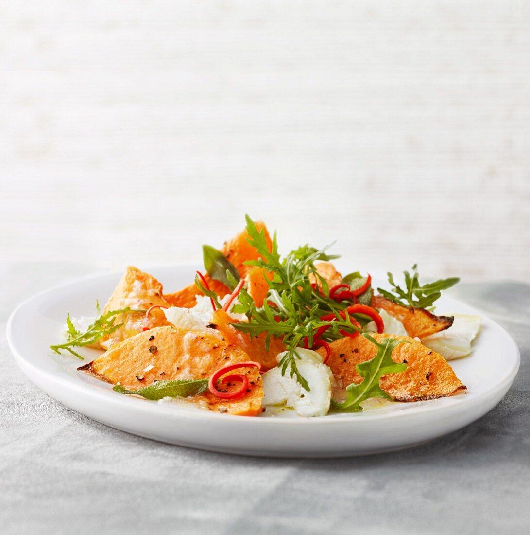 Pumpkin salad with rocket