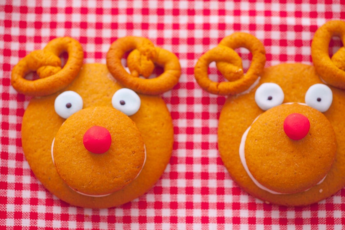 Two decorative gingerbread cookies look like a reindeers
