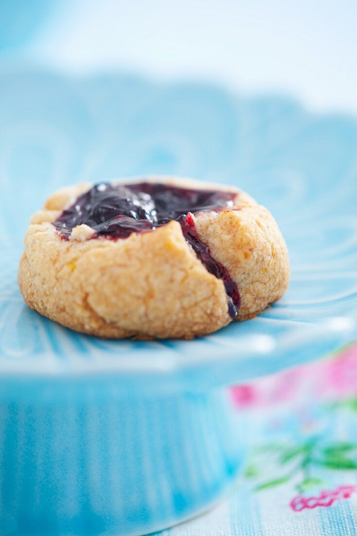 A biscuit filled with blackcurrant jam (close-up)
