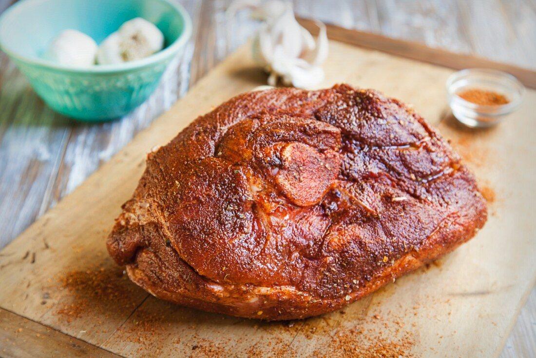 Seasoned Pork Shoulder Being Prepared for Slow Cooker