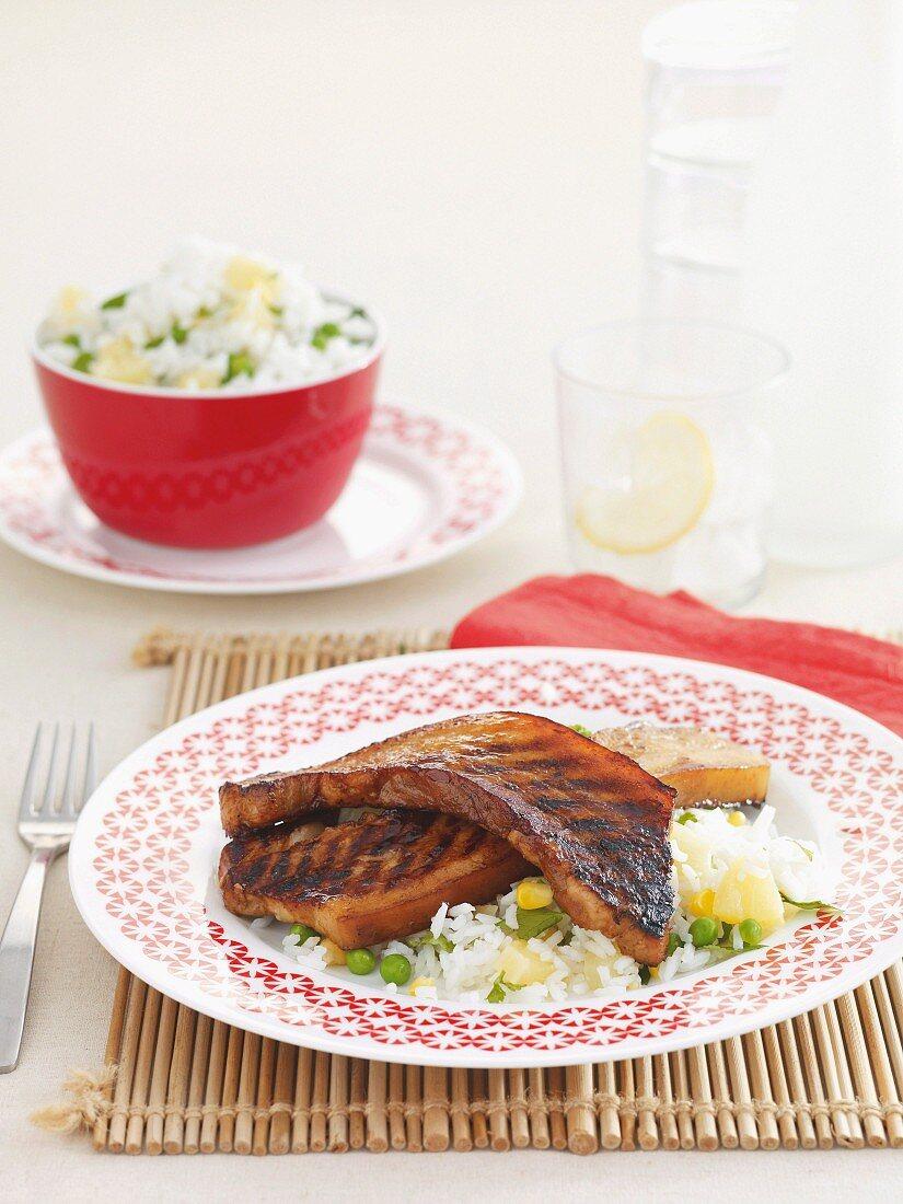 Crispy pork belly with pineapple rice salad
