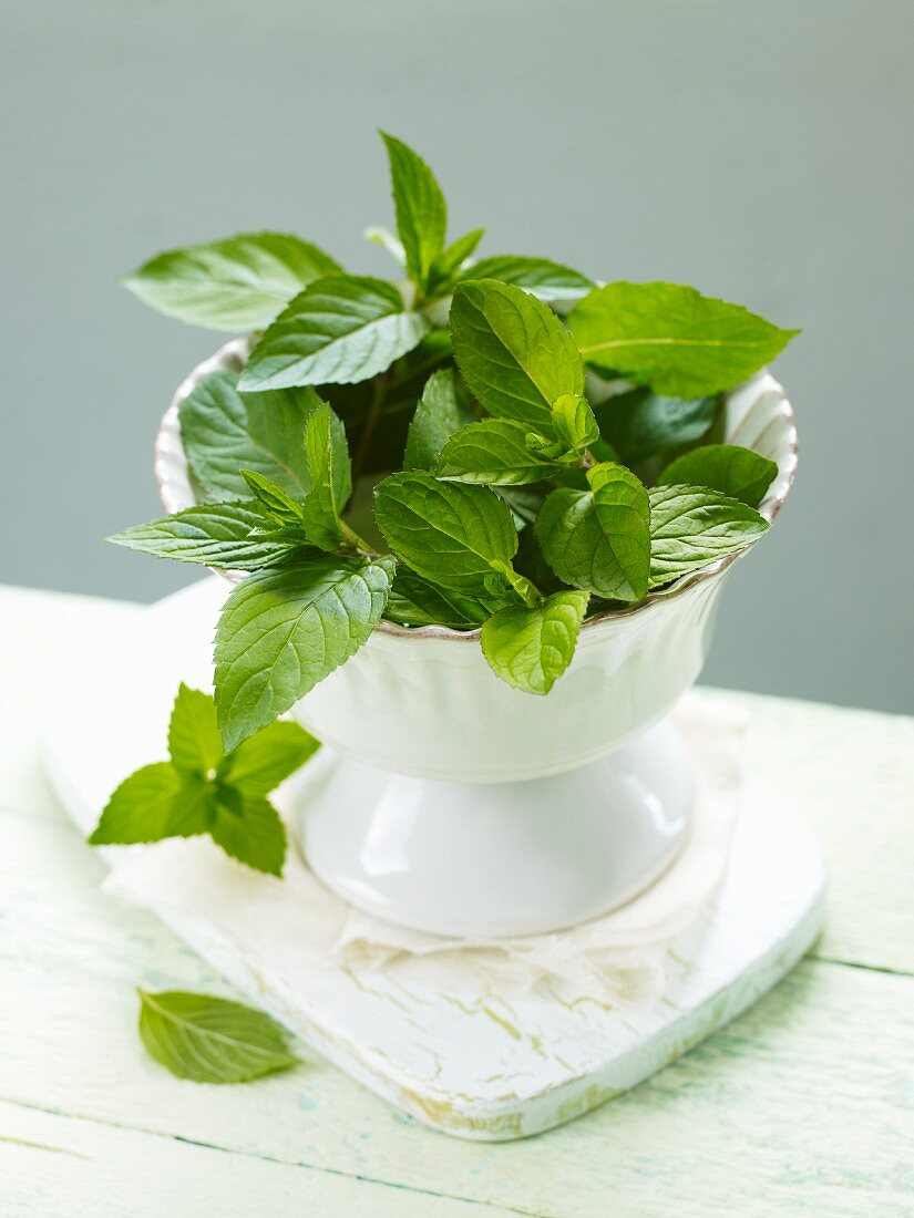 Mint in a small bowl