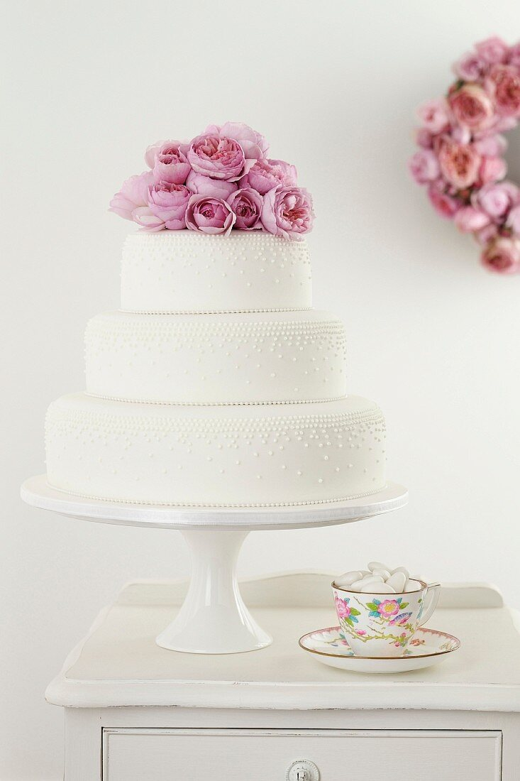 Classic Stack Cake with Fondant details and Pink Roses