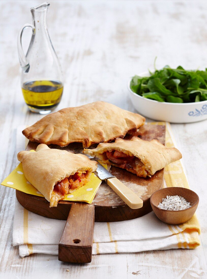 Calzone with Wiener sausages