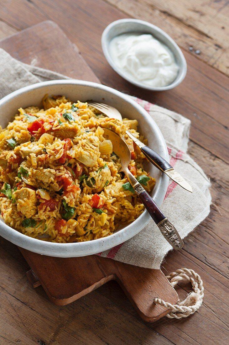 Chicken and vegetable biryani (India)