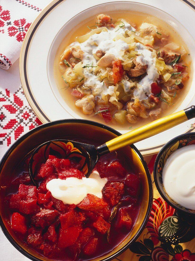 Two Russian stews Solyanka & Bortsch