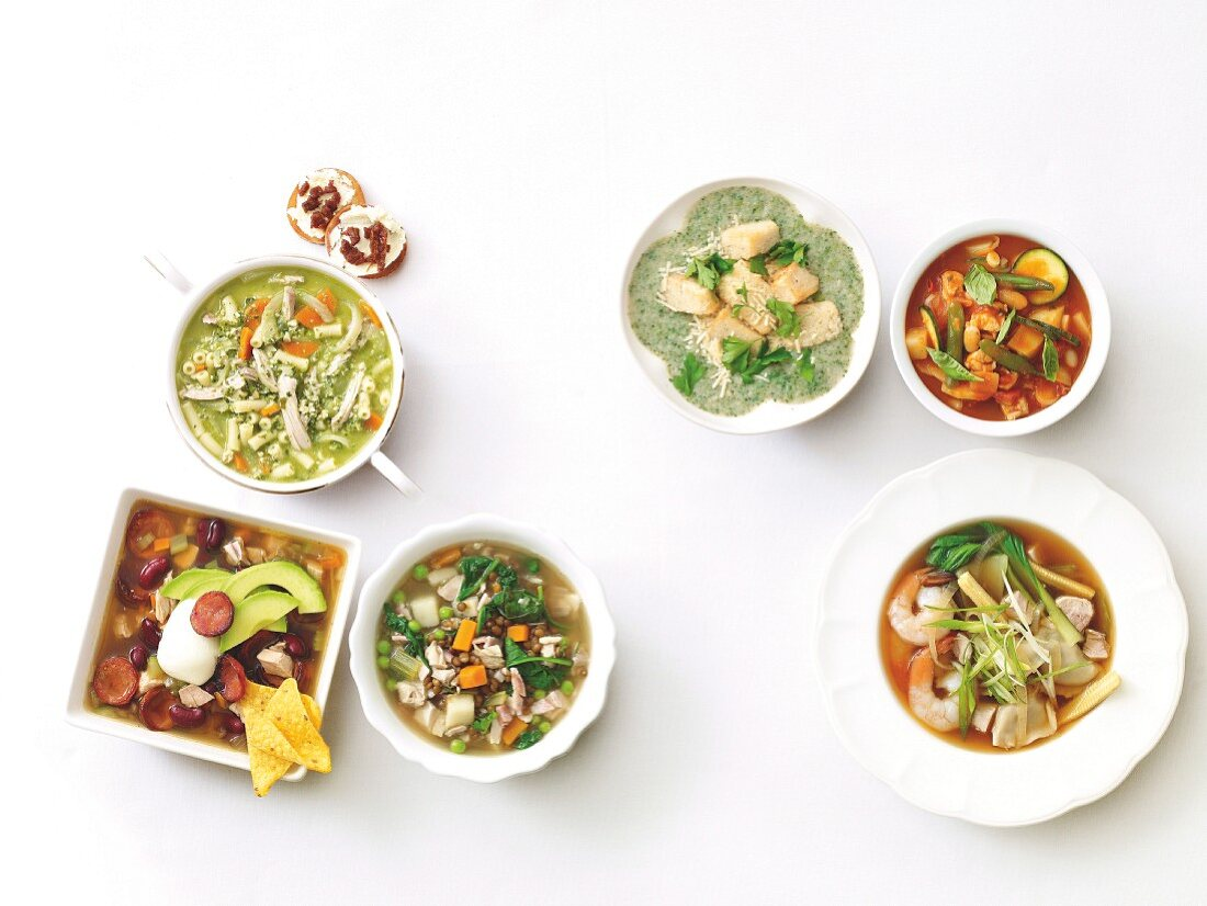 Six different chicken soups from one basic recipe