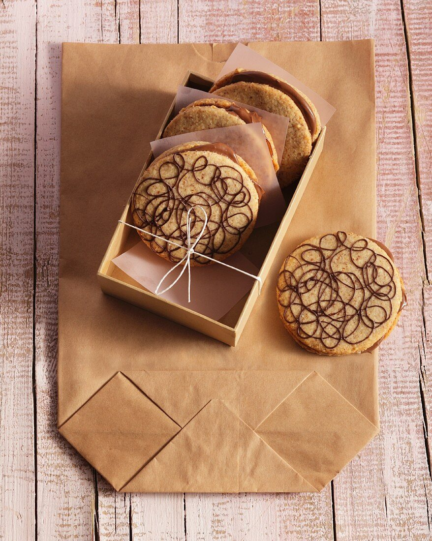 Almond sandwich biscuits with a nougat filling