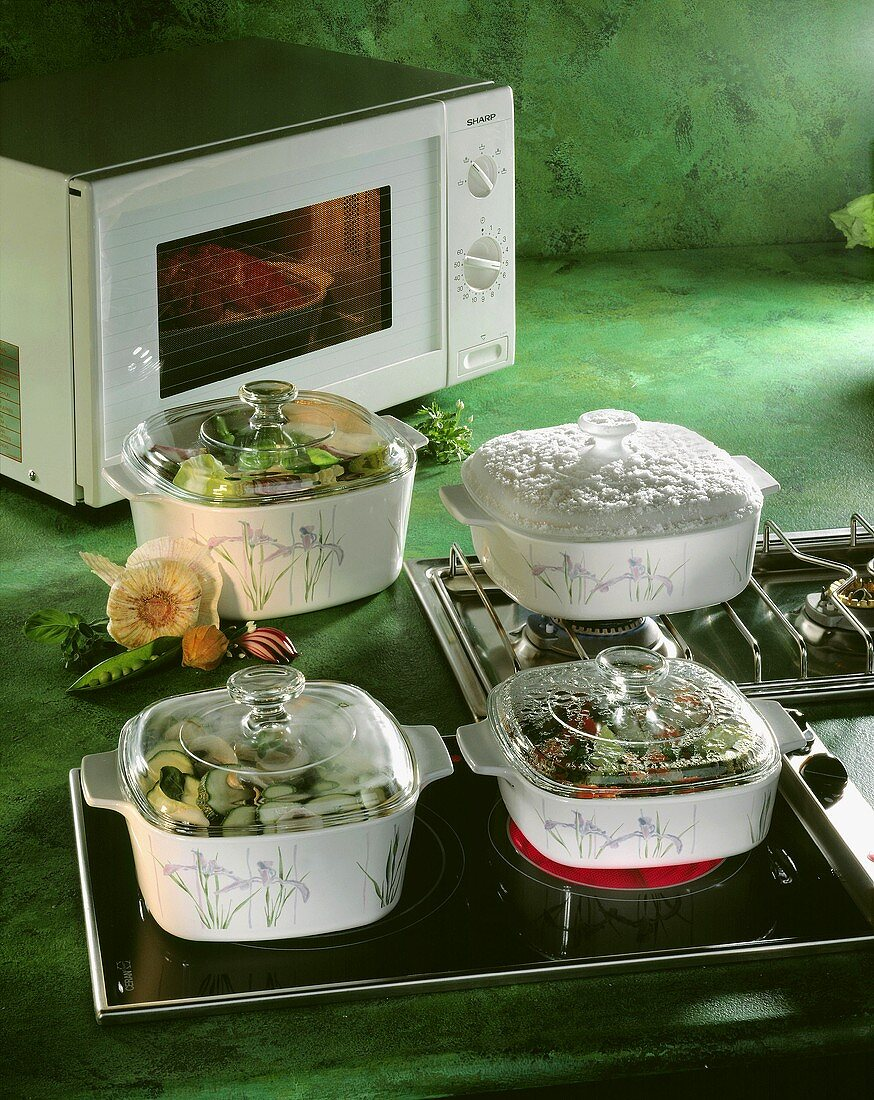 Food Cooking on the Stove and in a Microwave
