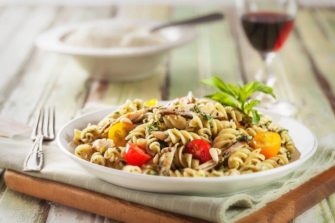 Rotini Pasta with Pesto, Grape Tomatoes and Pine Nuts
