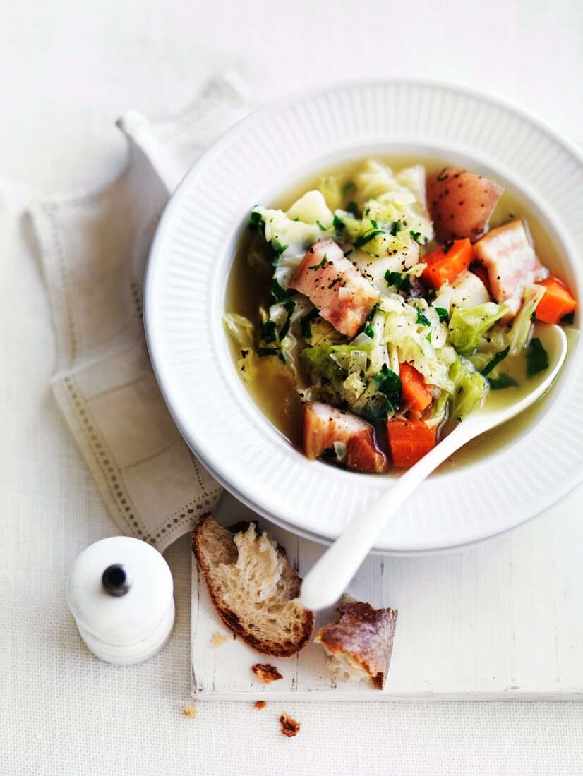 La garbure (cabbage soup with bread and bacon, France)