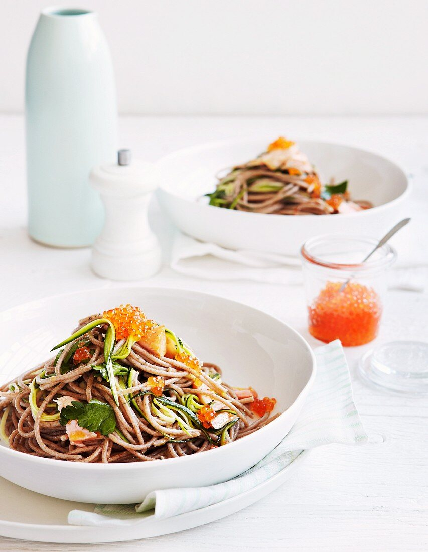 Spelt spaghetti with smoked trout, caviar and courgette