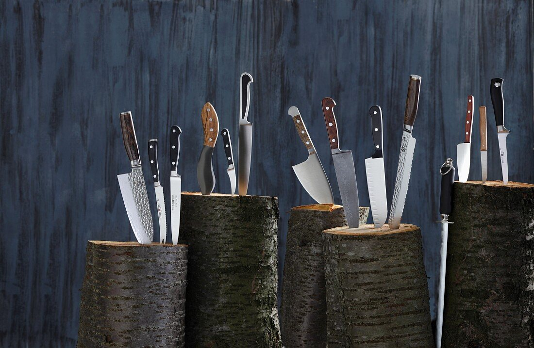 Assorted kitchen knives stuck in logs