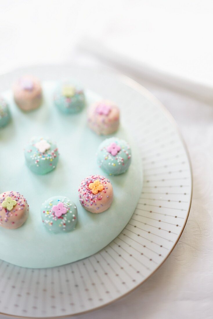 Chocolate layer cake with pale blue icing