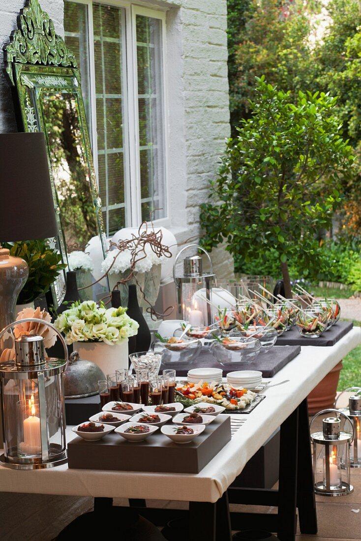 A summer garden party buffet