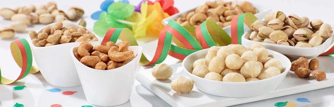 Assorted nuts as snacks for a party