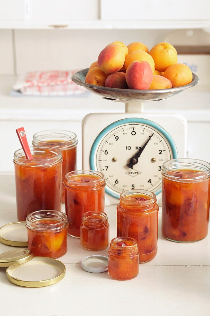 Apricot jam with cranberries and vanilla
