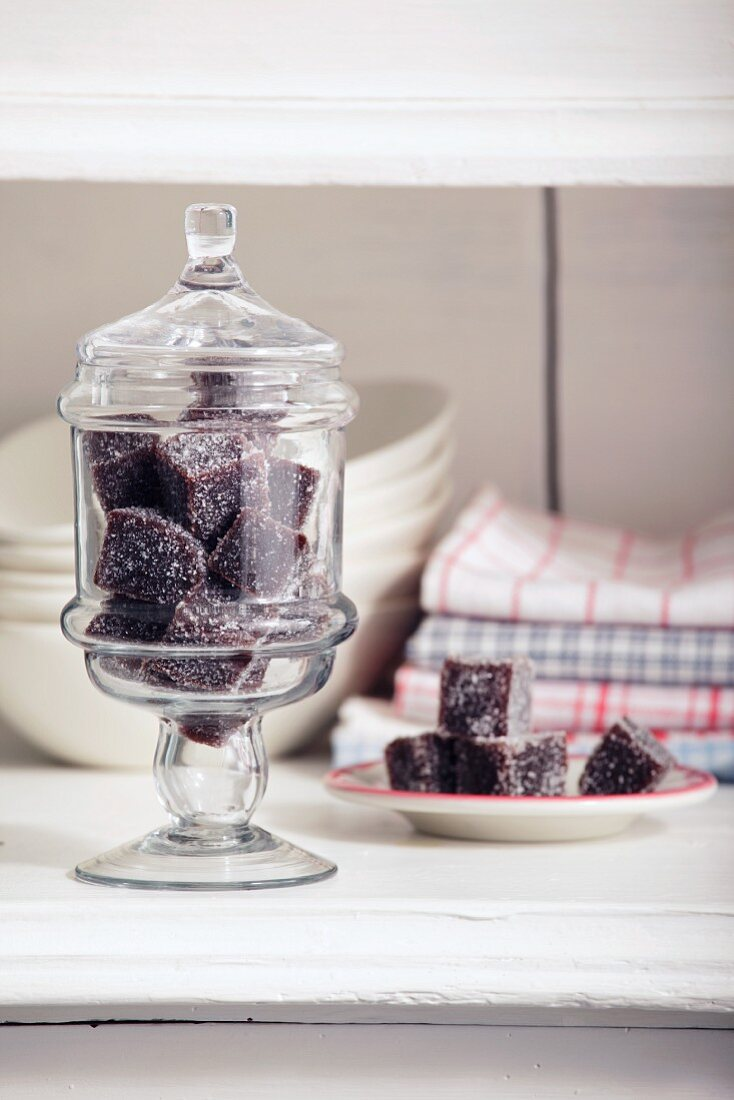 Home-made blueberry jelly sweets in a sweet jar