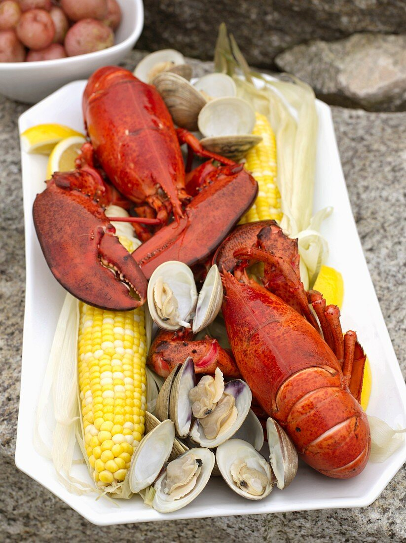 Lobster Bake with Corn and Clams