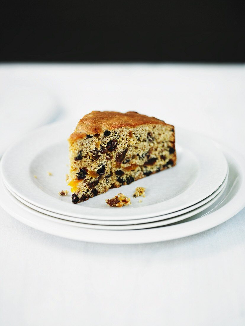 A slice of fruitcake with ras-el-hanout (spice mixture, Morocco)