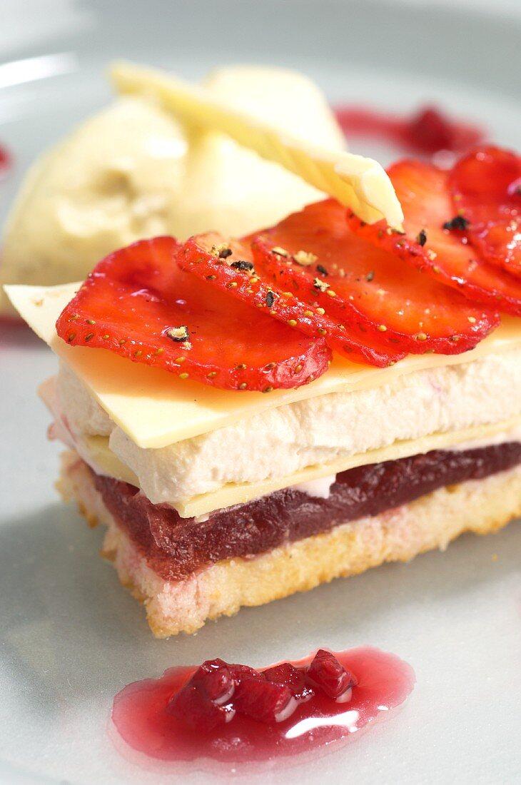 Layered strawberry dessert with vanilla ice cream